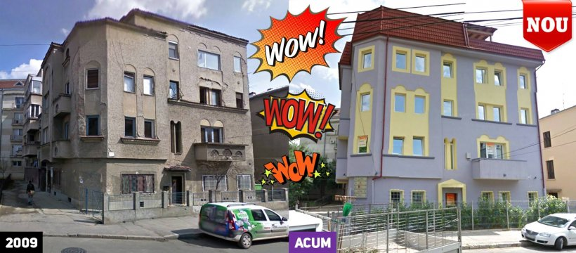 """Cum a fost renovat un bloc din anii '30, în Bucureşti. """"Uite ce culori frumoase are acum"""""""