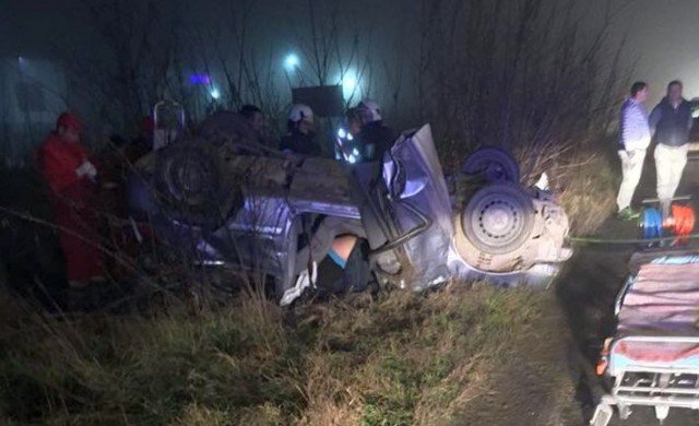 Accident grav la intrarea în Timișoara – un autoturism s-a dat peste cap