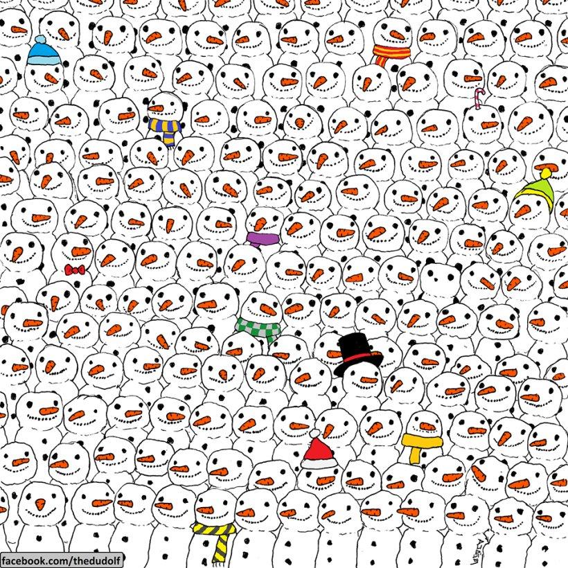 Puzzle-ul de Crăciun care a ajuns viral pe Facebook. Cât de repede găsești ursul panda în mulțimea de oameni de zapadă?