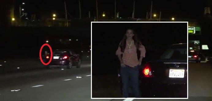 O șoferiță beată ''turtă'' îşi parchează mașina pe banda 2 a unei autostrăzi. Ce a urmat este halucinant - VIDEO
