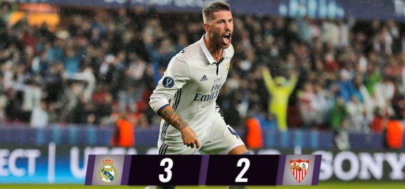 Real Madrid a câştigat Supercupa Europei, după ce a învins Sevilla în prelungiri cu 3-2