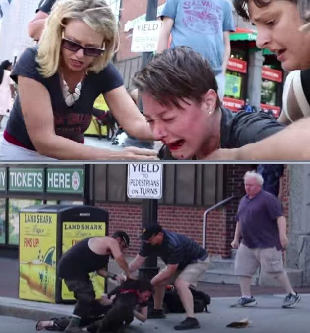 A mușcat puternic de gât și nu i-a mai dat drumul. Scene de groază filmate în mijlocul străzii