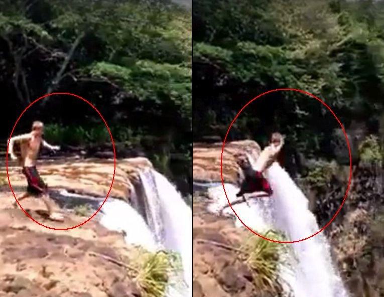 Și-a văzut moartea cu ochii după ce s-a aruncat de la peste 50 de metri înălțime, în apele învolburate ale cascadei - VIDEO