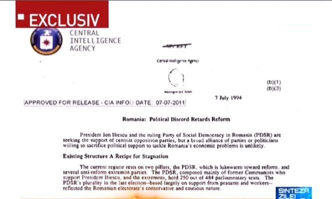 Document CIA despre politicieni români și partide