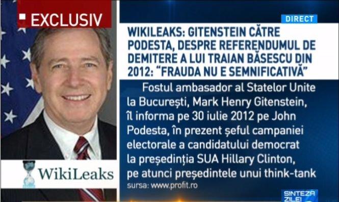 Sinteza zilei. Wikileaks: Gitenstein către Podesta, despre referendumul de demitere a lui Băsescu