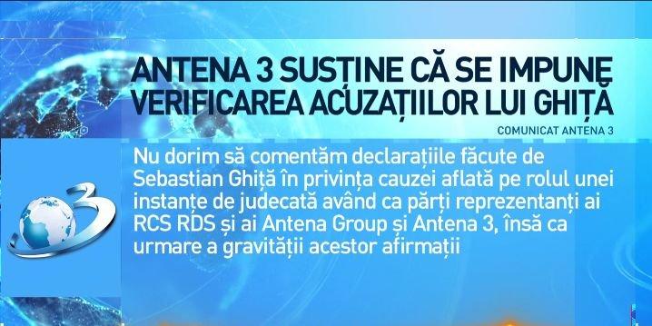 Antena 3 susține că se impune verificarea acuzațiilor lansate de Sebastian Ghiță