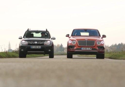 Duel extrem. Un Duster contra unui Bentley de aproape 12 ori mai scump. Cine a câștigat - VIDEO