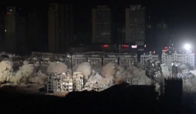 Operațiune de demolare în centrul Chinei. 19 clădiri au fost dărâmate în doar 10 secunde - VIDEO
