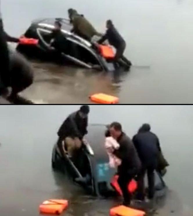 Mașina se scufunda în apa râului, iar bebelușul rămăsese blocat înăuntru. Ce a făcut tatăl fetiței. Imagini șocante - VIDEO