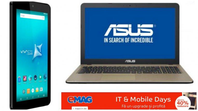 Reduceri eMAG. Laptopuri, tablete și telefoane mai ieftine cu până la 60%