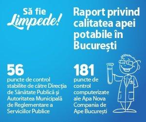 Să fie limpede! Raport privind calitatea apei potabile în București din 29 martie 2017