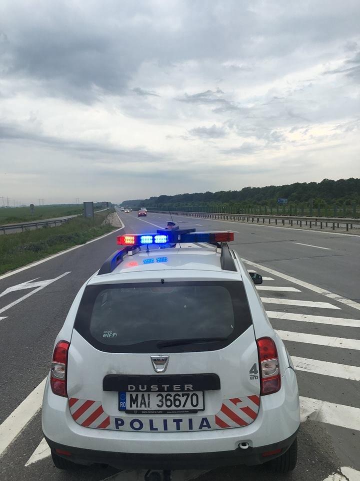 Şofer din Bucureşti, care a refuzat să oprească în Mangalia, prins cu focuri de armă și baraj pe șosea