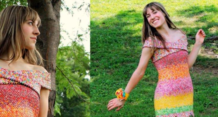 O tânără și-a confecționat cea mai ciudată rochie - FOTO