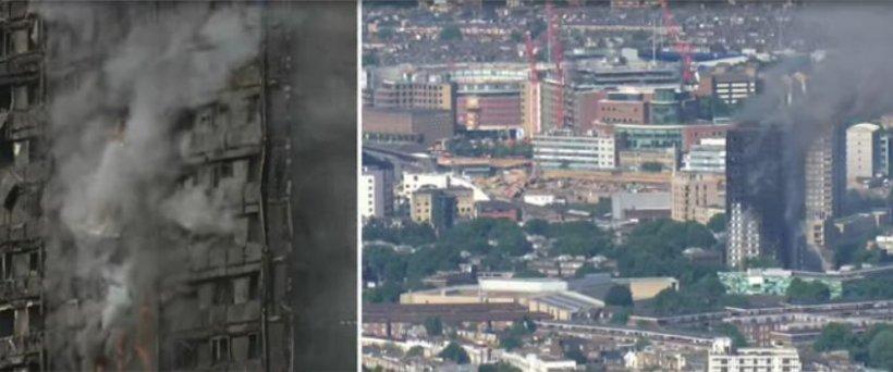 Britanicii scăpați din infern, găzduiți într-o biserică din apropierea blocului devastat de flăcări