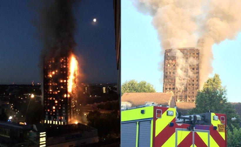 Incendiu uriaș într-un bloc de locuințe din Londra. Cel puțin 12 morți și peste 74 de răniți