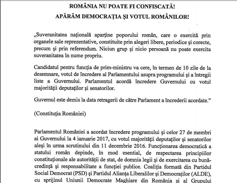 """Moțiunea de cenzură a fost finalizată. Documentul se intitulează """"România nu poate fi confiscată! Apărăm democraţia şi votul românilor"""". Vezi aici textul moțiunii de cenzură"""