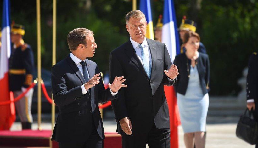 Macron a difuzat live, pe Facebook, primirea sa la Cotroceni. Preşedinţia nu a transmis evenimentul