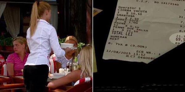 Surpriză uriașă pentru o chelneriță din Mamaia! Cât a primit bacșiș la o notă de 69,5 lei