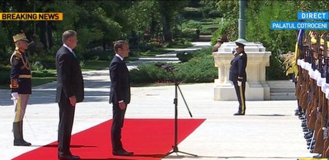 Vizita preşedintelui Franţei în România. A fost primit cu onoruri militare - Galerie FOTO și VIDEO