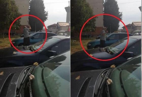 Incident șocant în România! Înarmat cu un topor, un bărbat face praf o maşină lăsată pe locul lui de parcare