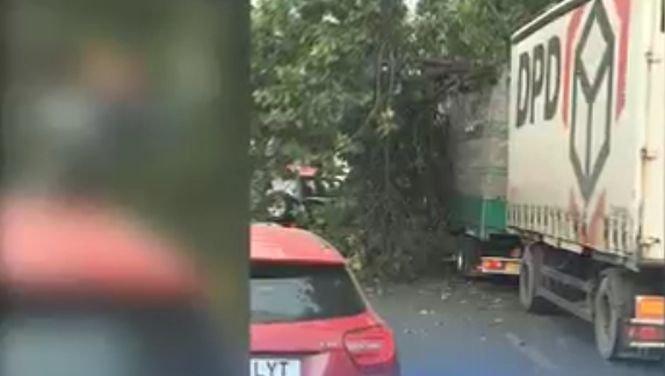 Vânt puternic în Capitală. Un copac a fost doborât peste un camion