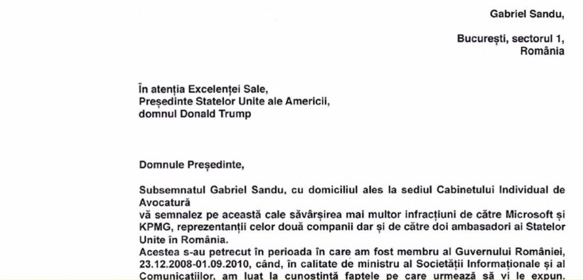 Denunțul bombă al lui Gabriel Sandu, adresat președintelul Trump 16
