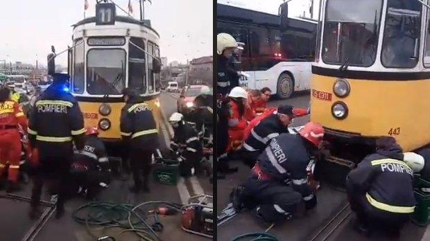Incident grav în Iași. Un bărbat a fost prins sub tramvai - VIDEO