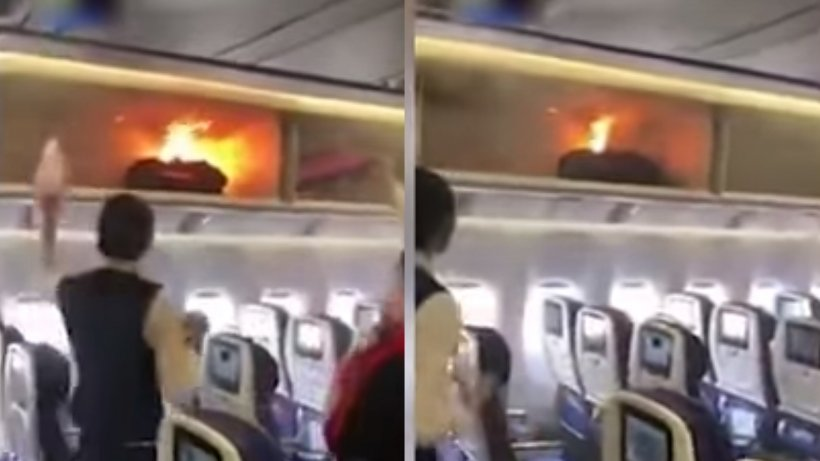Momente de panică la bordul unui avion! Bagajul unui pasager a fost cuprins de flăcări -VIDEO