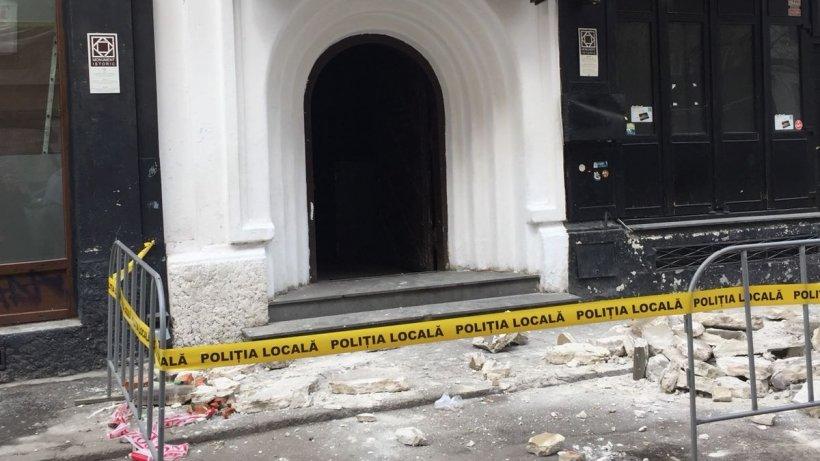 Balcon căzut în centrul istoric al Bucureştiului