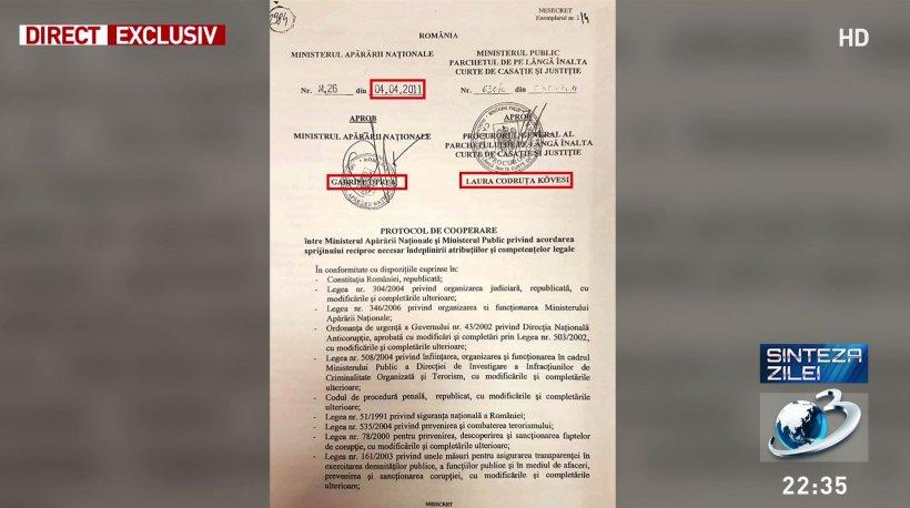 Protocolul secret Kovesi-Oprea. Document prezentat în premieră națională