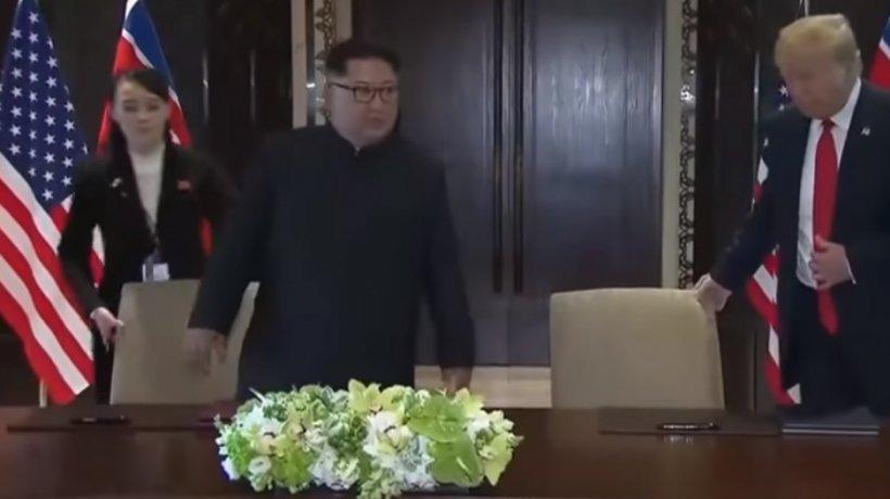 Gestul pe care sora lui Kim Jong-un l-a făcut chiar înainte că el să semneze alături de Trump un tratat - VIDEO