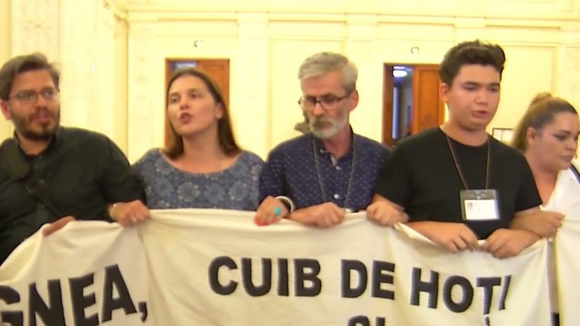 Îmbrânceli pe holul Parlamentului. Dragnea și Tăriceanu, în fața protestatarilor - VIDEO