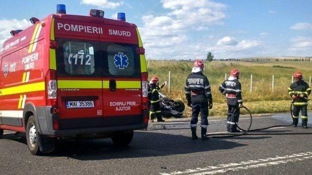 Accident cu două autocamioane pe un drum național din Olt. Un șofer a rămas încarcerat