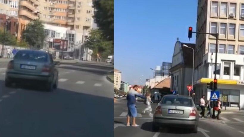 Imagini şocante în Alba Iulia. Un șofer inconștient, la un pas să ucidă mai mulţi pietoni - VIDEO