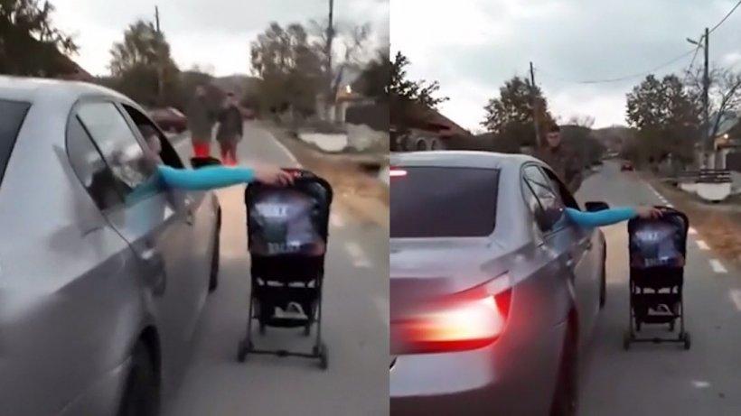 Acrobaţie şocantă în România! Bebeluș pus în pericol de părinți. Cum a fost surprins copilul - VIDEO