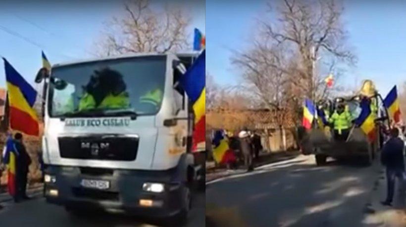Imagini incredibile surprinse de Ziua Națională! Paradă cu mașinile de salubritate și excavatorul - VIDEO