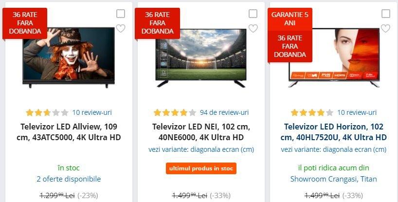 eMAG reduceri. Premiera: 3 televizoare 4K Ultra HD sub 1.000 de lei