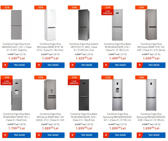 """eMAG oferte. """"Revoluția prețurilor"""" anunță reduceri la combine frigorifice"""