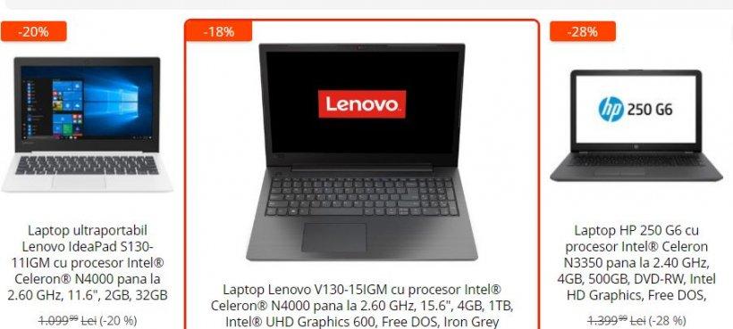 eMAG reduceri. 3 laptopuri super-performante ce costa sub 1.000 de lei