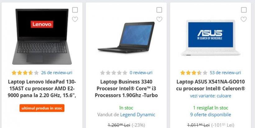 eMAG reduceri. 3 laptopuri uimitoare sub 950 de lei