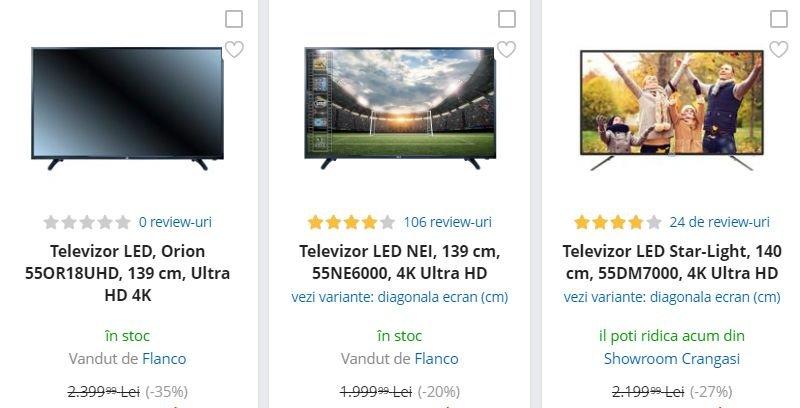 eMAG reduceri. 3 televizoare 4K si cu diagonala uriasa care costa sub 1.600 de lei