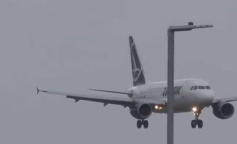 """TAROM: """"Indiferent de vreme, aterizările piloților noștri sunt întotdeauna perfecte!"""" Aterizare spectaculoasă în Londra, pe timp de furtună - VIDEO"""