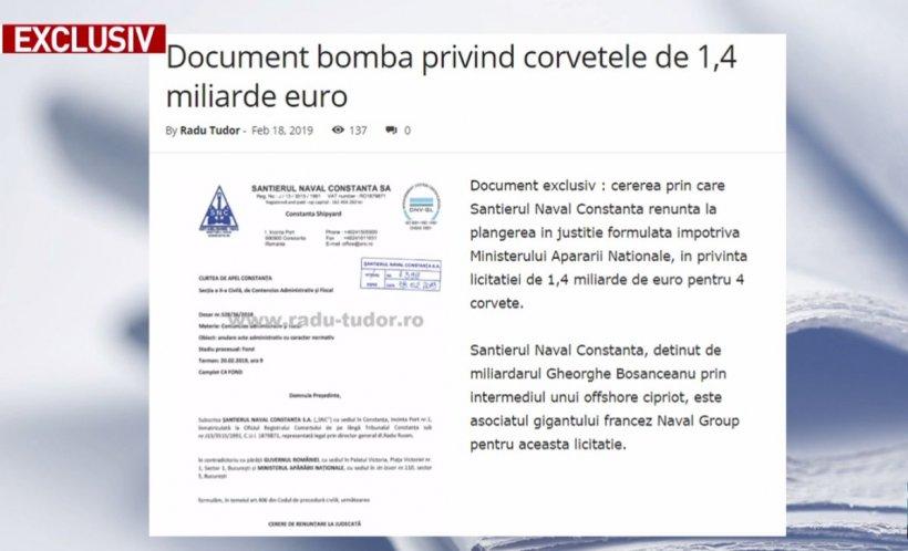 Radu Tudor:Document bombăprivind corvetele de 1,4 miliarde de euro