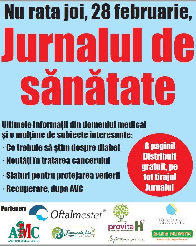 Nu rata joi Jurnalul de sănătate!