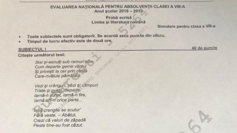 Barem Simulare Romana 2019 Detail: EDU.RO. BAREM DE CORECTARE LA EVALUARE NAȚIONALĂ 2019
