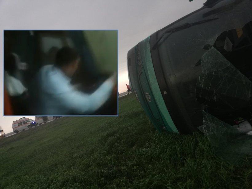 Imagini incredibile din autocar în momentul în care a fost luat pe sus de tornada din Călărași - VIDEO