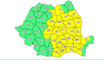 ANM: Cod galben de furtuni în 25 de județe ale țării și în București pentru următoarele ore