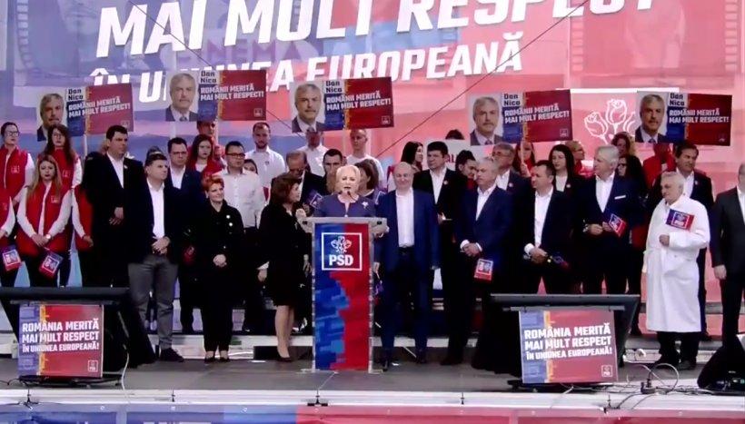 """Viorica Dăncilă, la mitingul PSD de la Galați: """"Am cerut președintelui să ceară aderarea la Spațiul Schengen. Am văzut doar poze"""""""