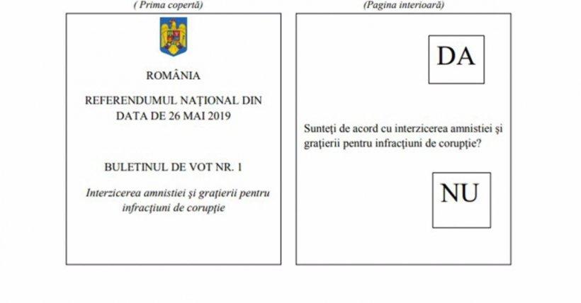 Cum vor arăta buletinele de vot de la Referendumul din 26 mai