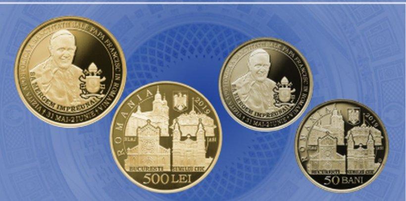 Banca Naţională a României a lansat o serie de monede din aur şi alamă, cu ocazia vizitei Papei Francisc